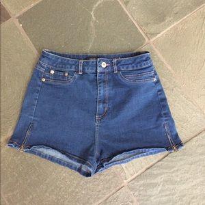 Forever 21 high rise denim shorts, zipper sides